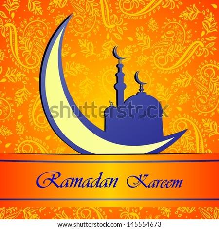 Ramadan greetings in Arabic script. An Islamic greeting card for holy month of Ramadan Kareem.  Illustration  - stock photo