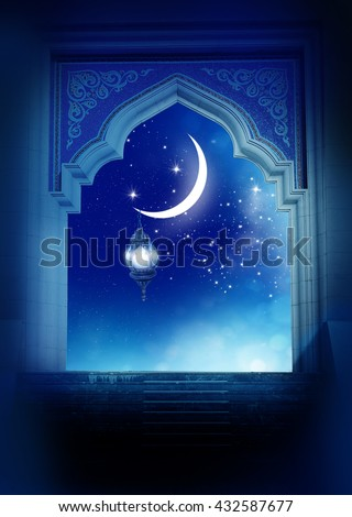 Ramadan Kareem background..Mosque window with shiny crescent moon - stock photo