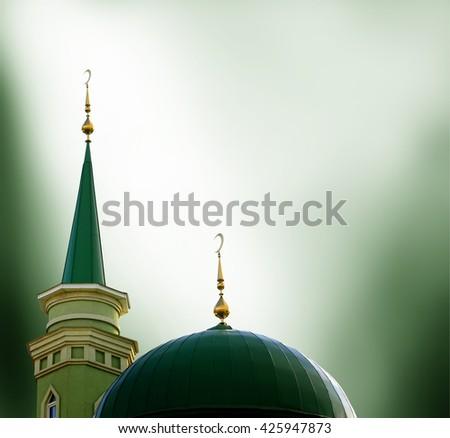 Ramadan Kareem background with mosque - stock photo