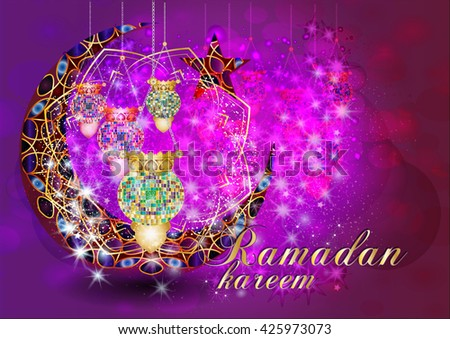 Ramadan Kareem - muslim islamic holiday colorful eid fanous lanterns hanging with decorations, on stars and sparkles dark night background. Eid Al-Fitr festival. - stock photo