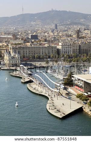 Rambla del mar walkway in Barcelona - stock photo
