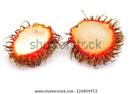 Rambutan on a white background close-up - stock photo