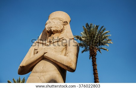 Rameses II Statue in Karnak, Ancient Egyptian Temple - stock photo