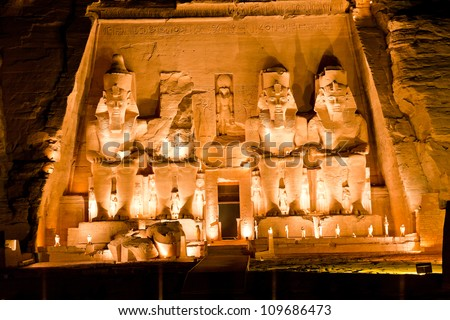 rameses II temple at abu simbel, egypt - stock photo