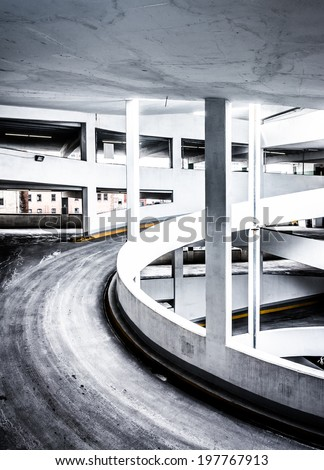 Ramp in a parking garage, in Baltimore, Maryland. - stock photo