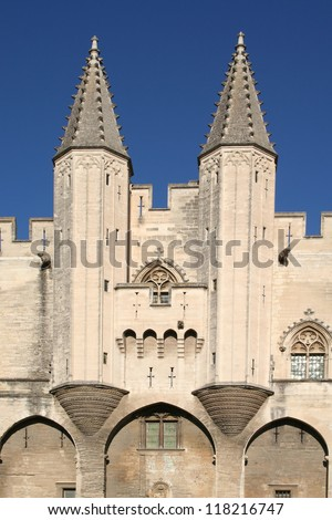 Ramparts of the Palais des Papes, Avignon, France - stock photo