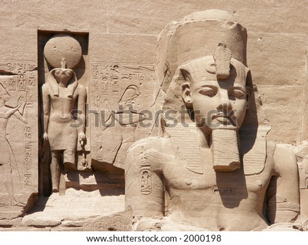 Ramses statue at Abu Simbel, Egypt - stock photo