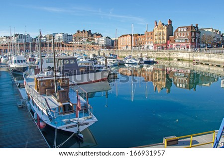 RAMSGATE, UK DEC 11:  The motor yacht Sundowner in the Royal Harbour at Ramsgate, Kent on Dec 11, 2013.  Sundowner is a Dunkirk Little Ship which brought back 130 men during the evacuation. - stock photo