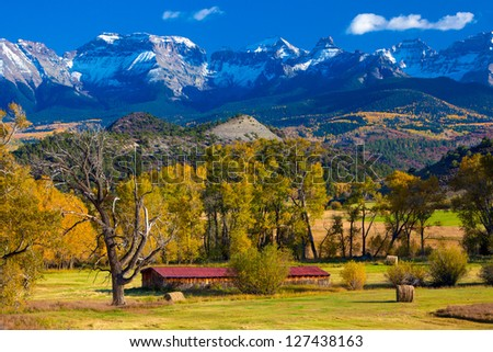 Ranch Below Dallas Divide, San Juan Mountains, Colorado - stock photo