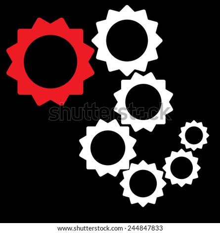 random collection of cogs - interlaced, teamwork, integral components - stock photo