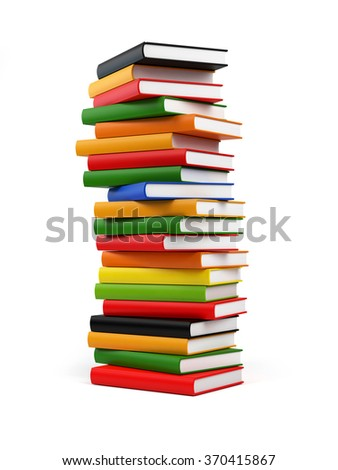 Randomly placed colourful books forming a huge tower of books. The covers of books are coloured in red, yellow, blue, green and black. .Isolated on white background. Clipping path included. - stock photo