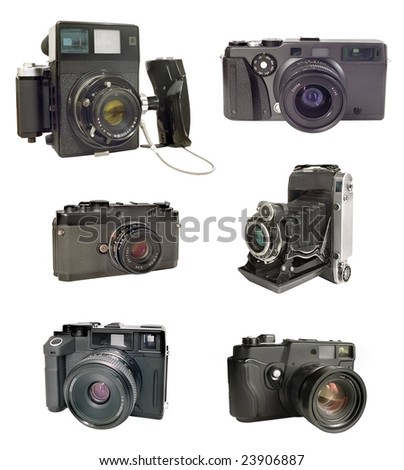 Rangefinders cameras from 1960 to 2000. - stock photo
