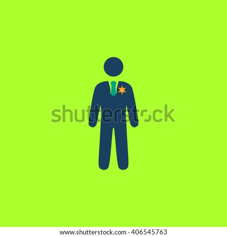 ranger Flat icon on color background. Simple colorful pictogram - stock photo