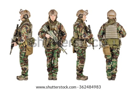 Ranger standing in woodland camouflage and modern machine gun. Isolated on white - stock photo