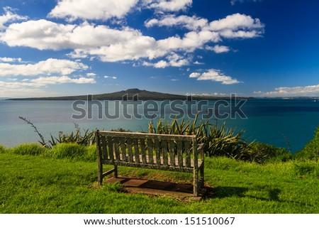 Rangitoto Island and Hauraki Gulf from Devonport, Auckland, New Zealand - stock photo