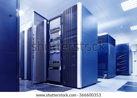 ranks modern supercomputers in computational data center - stock photo