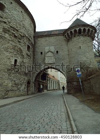 Rannuvärav gate and Paks Margareeta tower. Tallin. Estonia. - stock photo