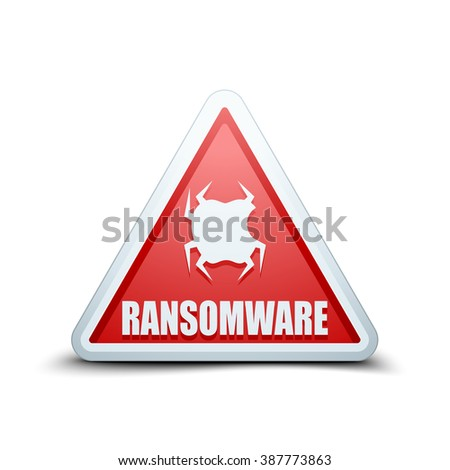 Ransomware Hazard sign - stock photo