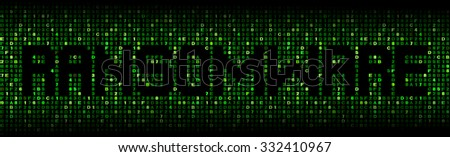 Ransomware text on hex code illustration - stock photo
