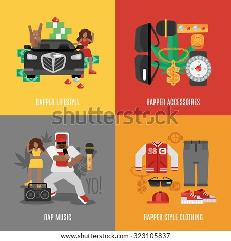 Rap music design concept set with rapper lifestyle clothing and accessories isolated  illustration - stock photo