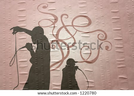 Rap singers on paper - stock photo