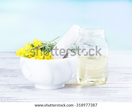 Rape oil and flower on wooden table with nature blue background - stock photo