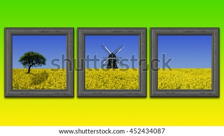 Rapeseed field paintings on a yellow and green wall - stock photo