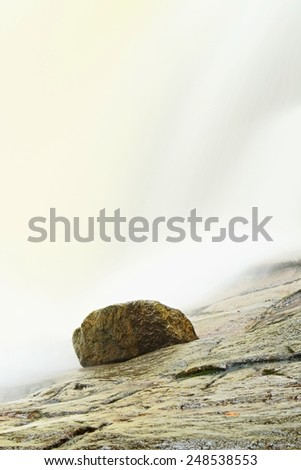 Rapid stream with huge of crystal water. Mountain river full of cold spring water. Slipper big stones and foamy chilly water around.  - stock photo