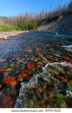 Rapids of the North Fork Flathead River on the border of Glacier National Park - stock photo