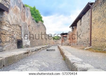 rare, empty street in Pompeii, Italy - stock photo