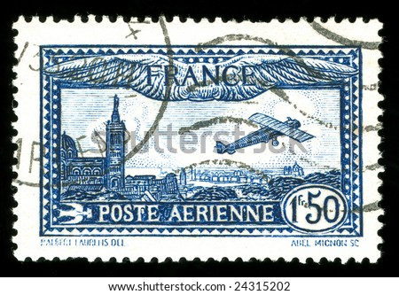 rare vintage French aircraft stamp from the art deco period - stock photo