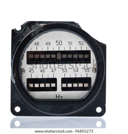 Rare vintage vibration  resonant frequency meter. Using for frequency measurement in electric net. Show exactly fifty Hertz - look at shaking element. Isolated on white background. - stock photo