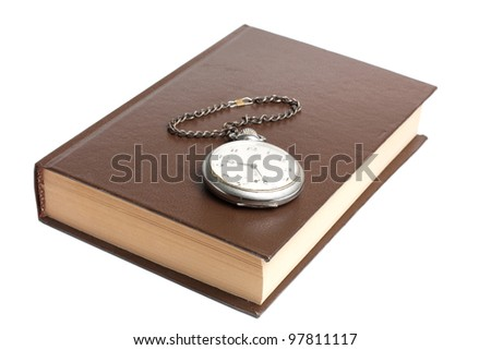 rare watch and book - stock photo