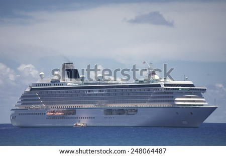 "RAROTONGA, COOK ISLANDS - FEBRUARY 5, 2009: Cruise Ship ""Crystal Serenity"" of Crystal Cruises on South Pacific Ocean - stock photo"