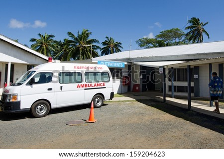 RAROTONGA - SEP 21:Cook Island hospital on Sep 21 2013.It's the only hospital in the country that can treat most illnesses and accidents but patients with serious conditions are sent to New Zealand. - stock photo