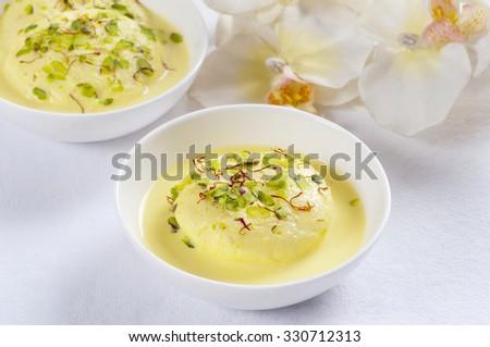 Ras malai in a bowl - stock photo