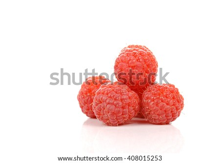 Rasberry , Red Berry isolated on white background. - stock photo