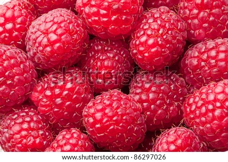 Raspberries close up. Macro photo. - stock photo