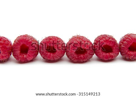 Raspberries isolated on white background. - stock photo