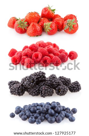 raspberries, strawberries, blueberries and blackberries - stock photo