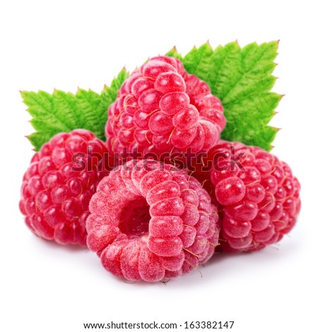 Raspberries with leaves isolated on white background - stock photo