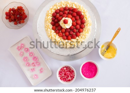 Raspberry cake and cake decorations around it, view from above - stock photo