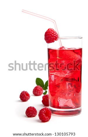 raspberry Cocktail with ice and berry, isolated on white background - stock photo