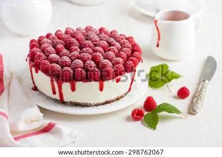 raspberry cream mousse cake (no baked cheesecake) on white background - stock photo