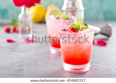 Raspberry crushed ice cold refreshing cocktail with mint - stock photo