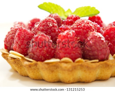 raspberry dessert close up, isolated on white - stock photo