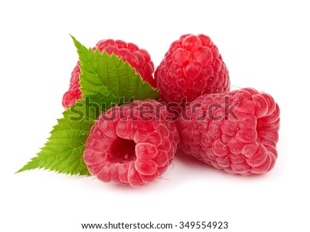 Raspberry fruit isolated over white background - stock photo