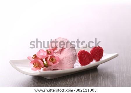 raspberry ice cream - stock photo