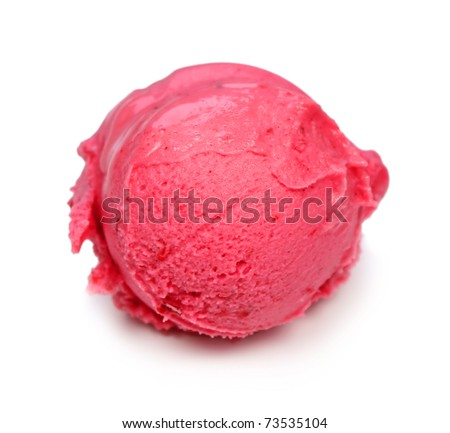 Raspberry ice cream scoop isolated on white - stock photo
