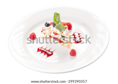 Raspberry mille feuille dessert isolated on white background - stock photo